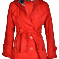 Lucy Red Belted Coat With Check Hood | Shelikes