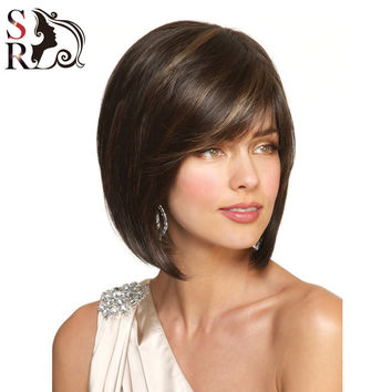 Short Bob Wig Straight Synthetic Wigs Highlighted Kanekalon Fiber/U Part Wig