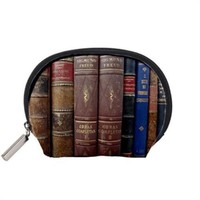 Old Leather Psychology Books Handmade 5x4 Cosmetic Makeup Bag Pouch Zip