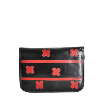 Carlos Falchi Vintage Black and Red Leather Clutch
