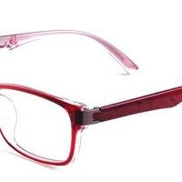 Susan Eyeglasses with Red Acetate Rectangle Full Frame/Rim Frame