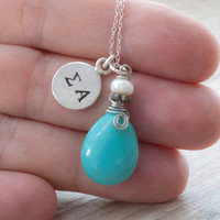 Personalized Initial Necklace, Stamped Sterling Silver Necklace, Turquoise Charm Necklace, Greek Letter Initials, Dainty Monogram Necklace