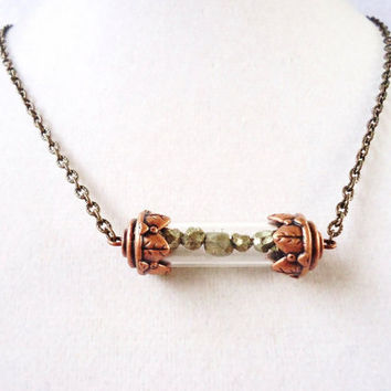 Pyrite Time Capsule Stempunk Vintage Style Copper Necklace Filled With Raw Pyrite Nuggets