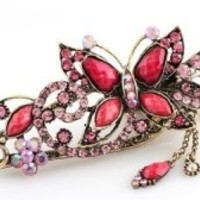 niceeshop(TM) Lovely Vintage Jewelry Crystal Butterfly Hairpins Hair stick Hair Beauty Tools-Roseo