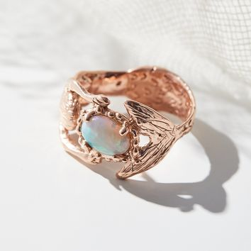 Free People 14K Mermaid Opal Hug Ring