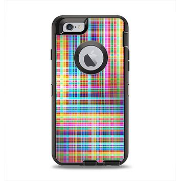 The Neon Faded Rainbow Plaid Apple iPhone 6 Otterbox Defender Case Skin Set