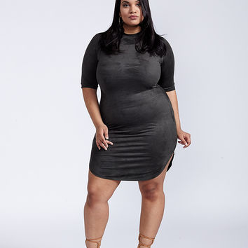 The Jenner Olive Faux Suede Bodycon Dress Plus Size
