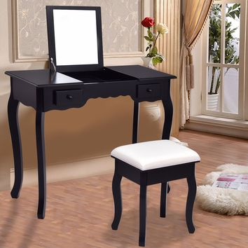 Giantex Modern Vanity Dressing Table Set Mirrored Bathroom Furniture With Stool Table Black Make Up Dresser Desk HW56231BK