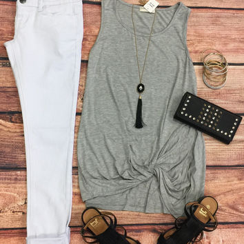 Knotted Tank Top: Grey