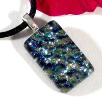 Aqua Blue, Pink and Silver Dichroic Glass Pendant Necklace, Fused