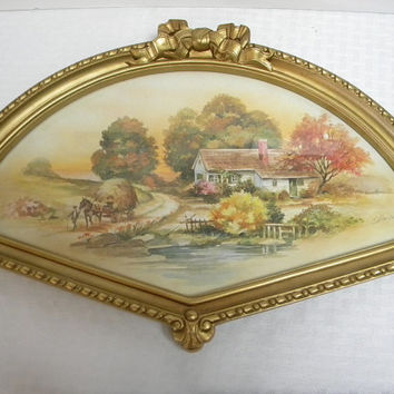 Fan shape frame with country print Homco 1984