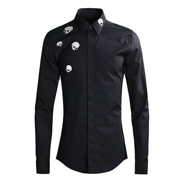 Men 💀 👨 Skulls Embroidery Shirts Long Sleeve Slim Fit