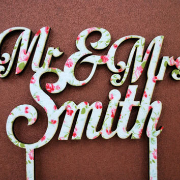 cake topper laser cut on wood with cotton fabric, wedding, birthday, anniversary