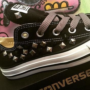 Custom Black Studded Converse All Stars - Chuck Taylors ALL SIZES & COLORS!