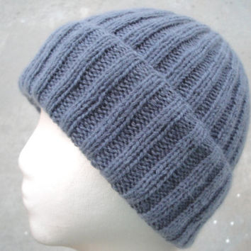 Knit Cashmere Hat, Medium Gray, Beanie Watch Cap, Luxury, Gift for Him Her