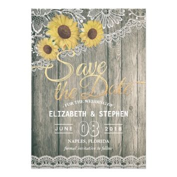 Rustic Wood Sunflowers Lace Wedding Save The Date Card