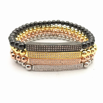 1 pcs Anil Brand Woman bracelet Micro paved Zircons Bar Bangle CZ Paved & Copper 18k gold plated Woman Braiding Macrame Bracelet