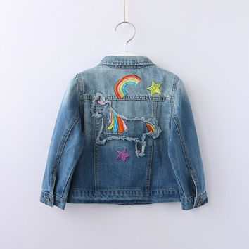 Girl Denim Jacket Cartoon Horse Rainbow Embroidery Ripped Kids Jean Coats Children Jacket Single Breasted Girl Jackets Outerwear