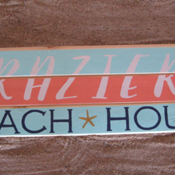 Personalized Family Beach House Sign FREE SHIPPING! Beach Decor (within the continental United States) Handpainted Nautical Coastal Decor