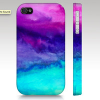 iPhone 4s or 4 case SALE and FREE SHIPPING, watercolor design, abstract painting, pink purple aqua turquoise, in stock ready to ship
