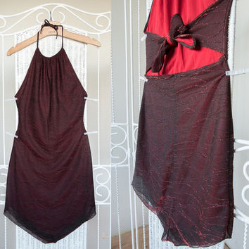 Vintage 90's  burgundy / red / claret glitter cut out asymmetrical open back / backless mini dress with pointed hem // size  s / m