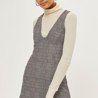 Check A-Line Pinafore Dress