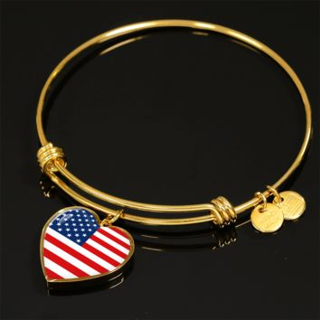 American Pride - 18k Gold Finished Heart Pendant Bangle Bracelet