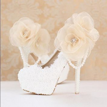 Fashion pink flower bridal shoes lace rhinestone ultra high heels thin heels woman wedding shoes shallow mouth round toe shoes