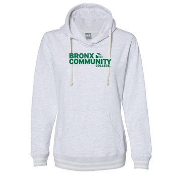 Official NCAA Bronx Community College PPBRX013 Women's Hooded Pullover Sweatshirt with Striped Edges