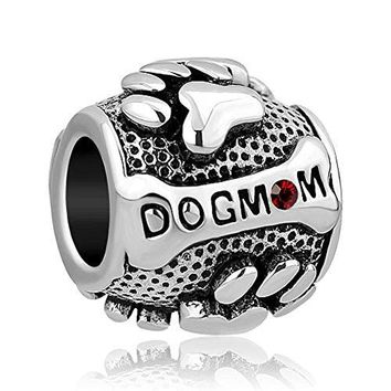 DemiJewelry Mom Dog Charms Paws Animal Silver Plated Charms Beads For Bracelets