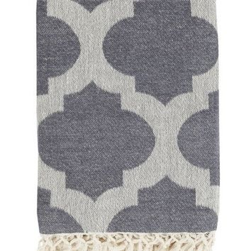 Quatrefoil Charcoal Gray Throw Blanket