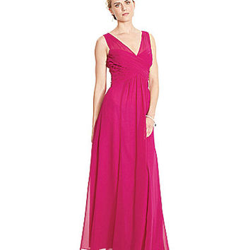 Lauren Ralph Lauren Ruched V-Neck Gown - Venetian Rose