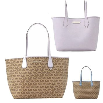Michael Kors Candy Large Reversible Tote with Detachable Pouch - Beige / Lilac