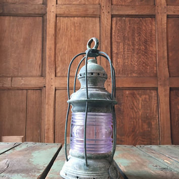 Antique Birdcage Nautical Lantern, Purple Glass Fresnel Lens, Brass Birdcage Anchor Light