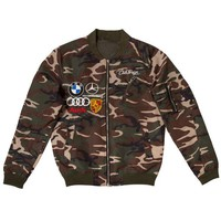 ONETOW Club Foreign Women Satin Bomber Jacket Camouflage