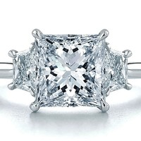 Engagement Ring - Princess Diamond Engagement Ring Setting with Trapezoids 0.40 tcw. In 14K White Gold - ES293PRWG
