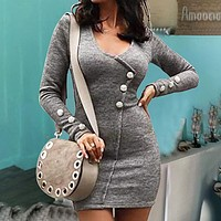 Autumn And Winter Fashion New Long Sleeve Dress Women Gray