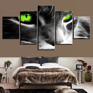 Gray Green Eyed Cat Panel Wall Art picture on Canvas Framed Unframed