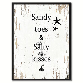 Sandy Toes & Salty Kisses Saying Canvas Print, Black Picture Frame Home Decor Wall Art Gifts