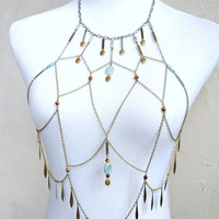 Dream Catcher Chain Halter Top - Brass Body Chain with Gemstone Beads and Metal Fringe - Tribal Gypsy Burning Man Playa Costume Accessory