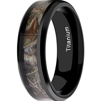 CERTIFIED 8MM Titanium Hunting Black Plated Camouflage Beveled Edges Ring