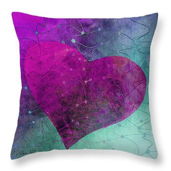 "Heart Connections Two Throw Pillow 14"" x 14"""