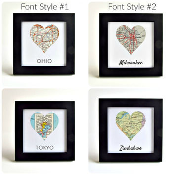 Custom Map Art / Personalized Map Art / Map Heart / Gifts under 50 / Unique Hostess Gifts / Christmas Gift for Couple / Custom Wedding Gifts