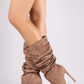 Suede Slouchy Pointy Toe Stiletto Boots