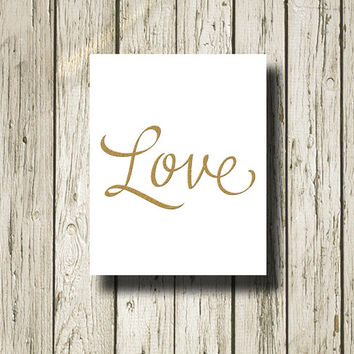 LOVE Gold White Print Printable Instant Download Wall Art Home Decor GC103wwhite