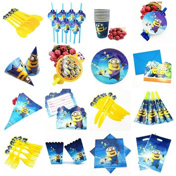 Minions Theme Party straws Cups Napkins Plates Tablecloth Popcorn Supplies Knives And Forks Spoons Birthday Party Decoration