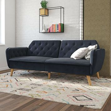 Memory Foam Blue Velvet Upholstered Futon Sofa Bed with Mid-Century Style Wood Legs