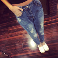 Fashion Ripped Holes Harem Pants Jeans Slim vintage Ripped Jeans Femme Washed Holes Boyfriend Jeans for Women Denim Pencil Pants