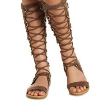 Taupe Lace-Up Tall Gladiator Sandals by Charlotte Russe
