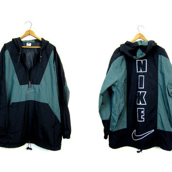 NIKE pullover jacket Sporty black green workout athletic wear sports track windbreaker nylon zipper Jacket 90s Hooded Coat Mens Medium Large